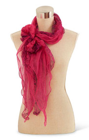 Fuchsia and Black Silk Scarf