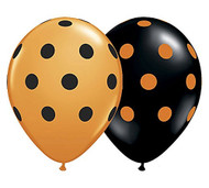 "11"" Black & Orange Polka Dot Latex Balloons - Set of 6"