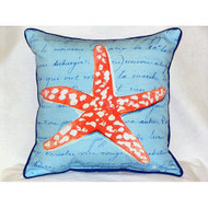 Coral Starfish Blue Large Pillow