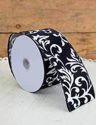 Black & White Velveteen Damask Wired Ribbon 2.5in x 24ft