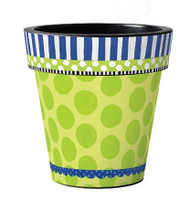 Frolic Green with Dots 12 Art Pot Planter