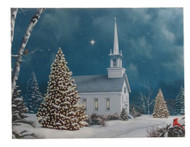 Lighted Christmas Church Print