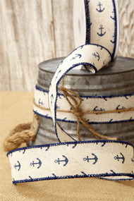 Canvas Ribbon Cream with Blue Anchors 1.5in