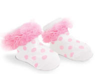 Baby Girl Light Pink Knit Polka Dot Booties