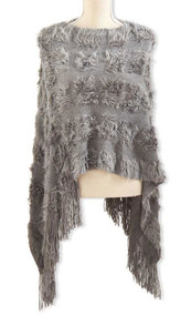 Gray Knit Faux Fur Cape 1