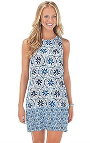 Mud Pie Rosie Blue Medallion Dress (Large)