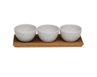 Acacia Tray with 3 Stoneware Bowls