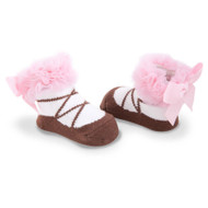 Baby Girl Brown and Pink Knit Ballet Booties