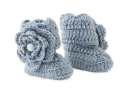 Baby Girls Gray Crocheted Knit Booties