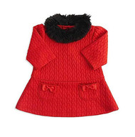 Baby Girls Red Quilt Dress with Fur Collar Dress (12-18 months)