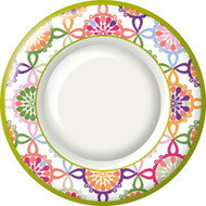 Ideal Home Range 8 Count Boston International Round Paper Dessert Plates, Pink Colorful Tile