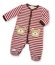 Mud Pie Unisex-Baby Newborn Velour Bear Sleeper, Multi Colored, 9-12 Months