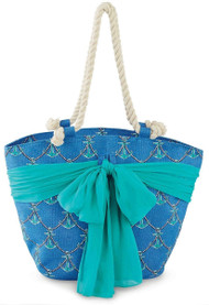 Mud Pie Sarong Along Blue Anchor Tote