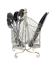 "11"" Tin & Wire Utensil Holder w/ 4 Compartments"