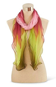Pink/Red/Lime Green Silk Scarf