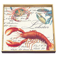 Lobster Square Decoupage Tray