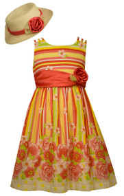 Girls Striped Floral Dress with Hat