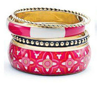 Mud Pie Women's Fashion Bali Printed Bangle Set, (Fuschia 8603062F)