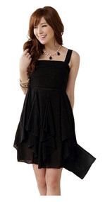 Womans Black Ruffle Dress K9711Y - Large