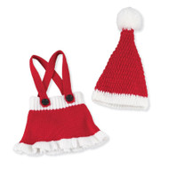 Baby Girl Santa Skirt & Hat Set