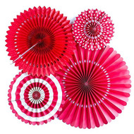 Red Paper Rosettes Party Fans