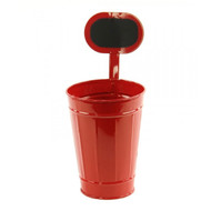 Red Tin Planter/Container w/ Chalkboard - Small 10""