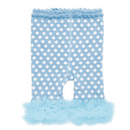 Baby Girls Light Blue & White Leggings with Chiffon Ankles (0-12 months)