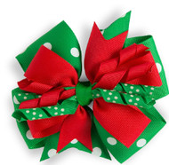 Red/Green with White Polka Dots Hair Bow