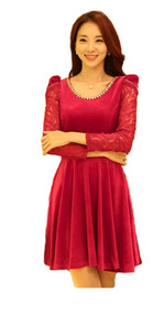 Womans Long Sleeve Red Dress with Lace Sleeve Y9822S - X Large