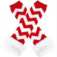 Girls Fur Trimmed Red Chevron Leg Warmers