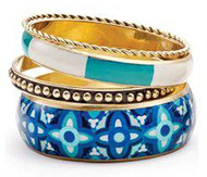 Mud Pie Women's Fashion Bali Printed Bangle Set, (Belize Blue/Cerulean 8603062BL)