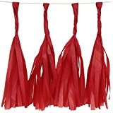 Red 12 Inch Paper Tassels - Set of 8