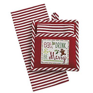 Eat, Drink & Be Merry Potholder & Dish Towel Gift Set