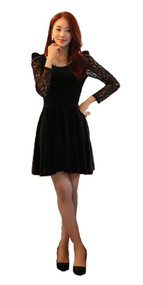 Womans Long Sleeve Black Dress with Lace Sleeve Y9822S - Large