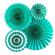 Teal Paper Rosettes Party Fans