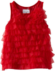Mud Pie Baby Girls' Red Chifffon Tiered Party Dress, Red, 2T 3T