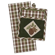 Pinecones Potholder & Dish Towel Gift Set