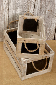 Whitewashed Wood Crates with Chalkboard