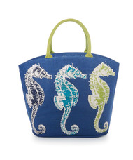 Mud Pie 8613029BLS Deep Sea Icon Tote, Sea Horse