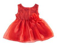 Baby Girls Red Sequin Dress (12-18, Red)