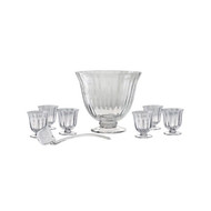 Fluted 8 piece Glass Punch Bowl Set