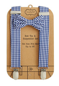 Mud Pie Gingham Bow Tie & Suspender Set