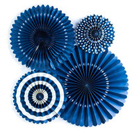 Navy Paper Rosettes Party Fans