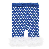 Baby Girls Leggings with Chiffon Ankles (0-12 months, Cobalt Blue; White Polka Dot)