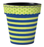 "Frolic Blue & Green Stripe 18"" Art Pot Planter"