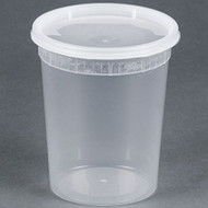 32 oz. Microwavable Translucent Plastic Deli Containers with Lids - Pkg of 24