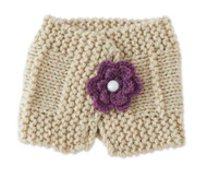 Baby Girls Handmade Knit Light Beige Scarf with Plum Flower