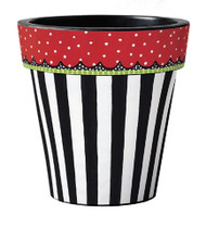 Frolic Black with White Stripes 15 Art Pot Planter