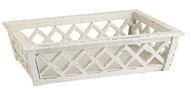 "17.5"" Wooden White Lattice Tray/Basket"