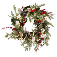 Cotton Pinecone Wreath 24""